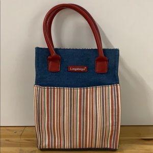 Longaberger Homestead denim striped  bag